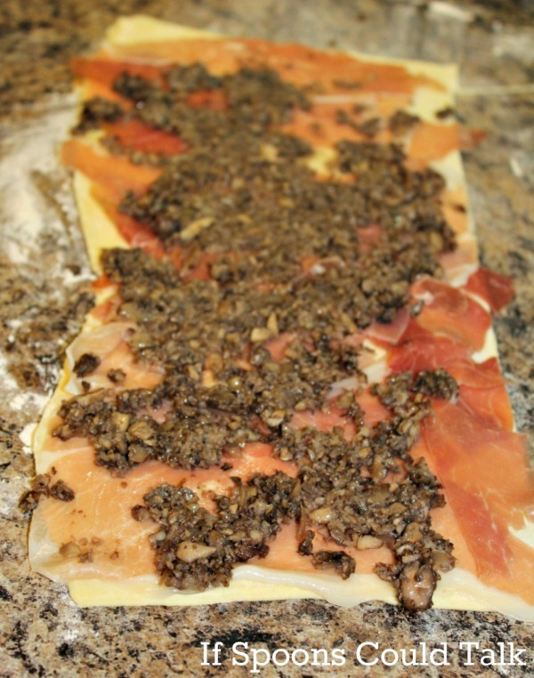 proschuito and mushrooms for beef wellington