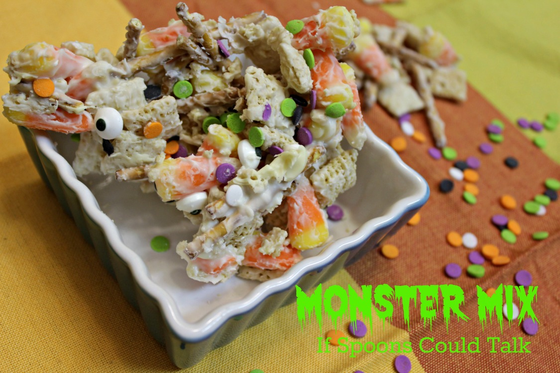 Sweet and salty party mix for Halloween. This monster mix will make everyone happy. It is ready in 30 minutes. Impress everyone at your party with this delicious fun treat.