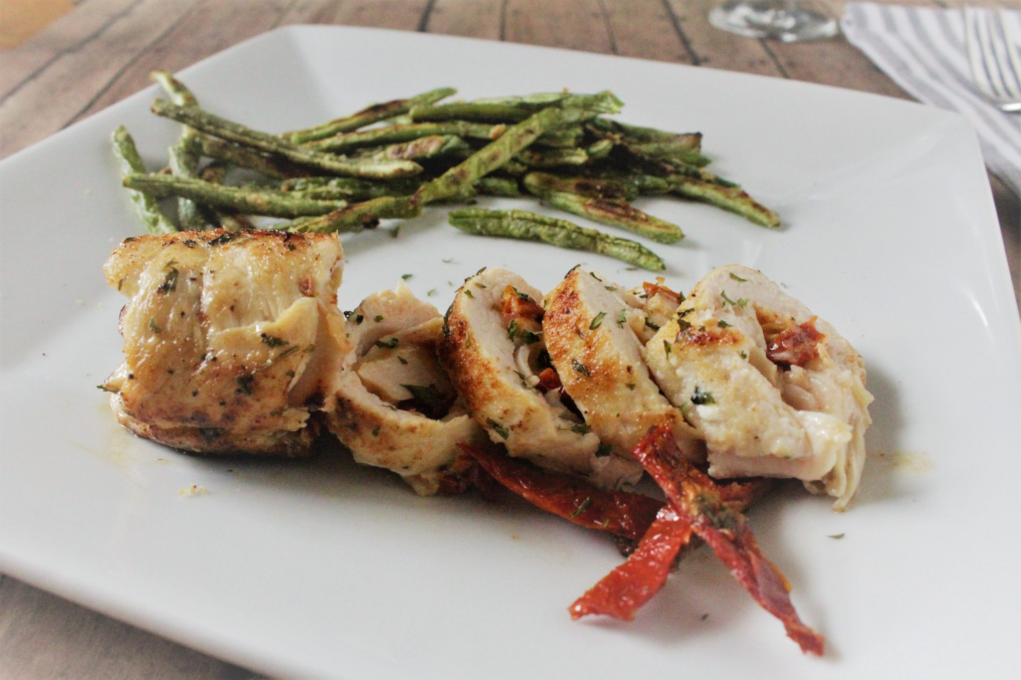 Stuffed Chicken Breast With Roasted Green Beans For Two